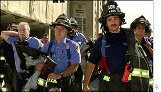 Firefighters working at the site of the Twin Towers