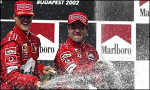 Michael Schumacher (left) with team-mate Rubens Barrichello