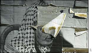 A ripped poster of Arafat in the West Bank