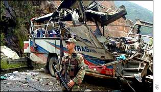 Bus after attack by left-wing ELN rebels