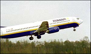Ryanair airplane takes off