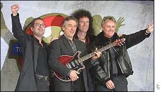 Robert De Niro poses with Ben Elton, Brian May and Roger Taylor before the launch of We Will Rock You