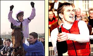 Tony McCoy shows his delight after his record-breaking win on Valfonic in April 2002