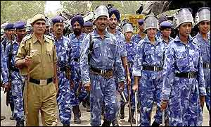 Armed policemen in India