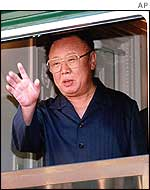 Kim Jong-il waves from the train