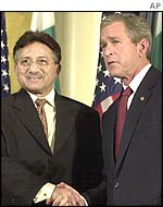 President George W Bush and President Pervez Musharraf