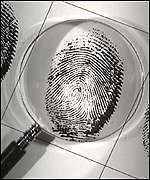 Fingerprint under a microscope