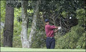 Tiger Woods plays off the fifth hole during the 2002 Masters