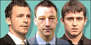 Jody Morris (left), John Terry and Des Byrne