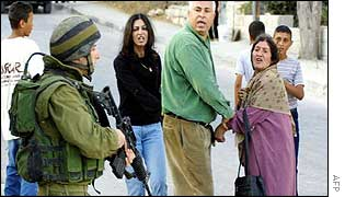 Saadat's relatives argue with Israeli soldier on Tuesday