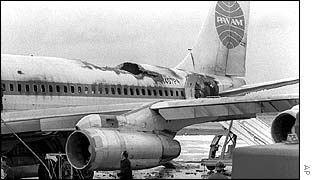 Damaged Pan-Am jet at Fiumicino airport near Rome following attack