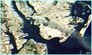 The smoke and debris were visible from the space shuttle, which was passing over New York at the time