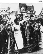 Leni Riefenstahl directing the film