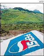 Pepsi logo on the Himachal Pradesh mountains