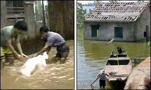 Men rescuing an animal (l) and a man making his way through the floods(r) ( photo courtesy of AFP)