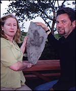 Cathie and Paul Booth with a footprint