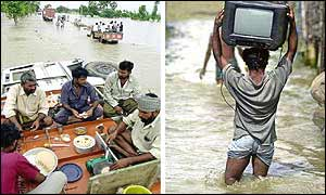 (Left) Breakfast atop a lorry overturned in the floods in Bihar; Bangladeshi villager salvages his television