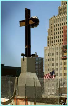 A cross was fashioned out of two steel girders and was erected to watch over the site