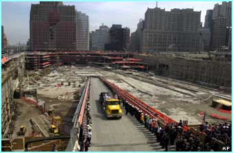28 May 2002: the last of the debris leaves the site with an emotional send off