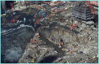 This aerial photo, taken three months after, shows just how much rubble had to be cleared