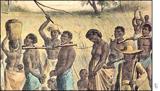 An illustration of slaves in chains in the Americas