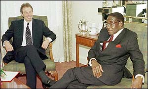 Tony Blair (left) and Robert Mugabe