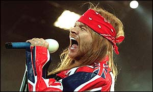 Axl Rose of Guns 'n' Roses on stage during the Freddie Mercury tribute concert at Wembley, 1992