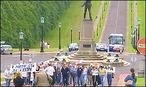 Farmers have been protesting at Stormont