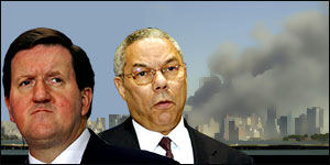 Graphic: George Robertson (far left) and Colin Powell