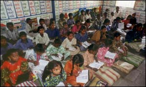 Children at school in India