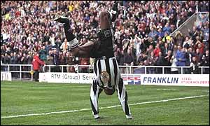 Asprilla pictured during his Newcastle days