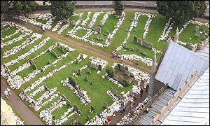 Aerial view of flowers at the churchyard at St Andrews' Church