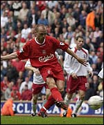 Danny Murphy scores Liverpool's third goal against Southampton from the penalty spot