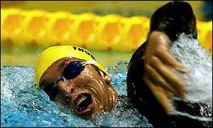 Australia's Ian Thorpe on his way to victory in the 400m freestyle at the Pan Pacific Championships