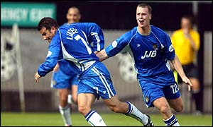 Andy Liddell celebrates scoring against Notts County