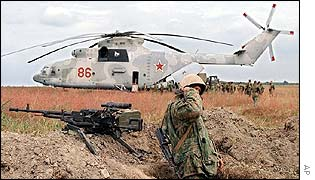 Russian Mi-26 helicopter troop carrier similar to one which crashed in Chechnya