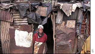 Woman in South African township