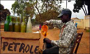 Petrol seller on Brazzaville streets
