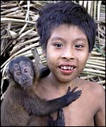 Awa boy and monkey