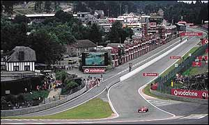 Michael Schumacher takes on Eau Rouge in the 2001 Belgian Grand Prix