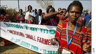 Ugandan small farmers' demonstration against globalisation in Johannesburg