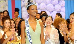 Agbani Darego of Nigeria is crowned Miss World last year in South Africa.