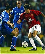 Manchester United striker Ruud van Nistelrooy scored twice