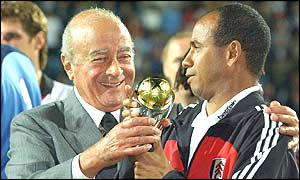 Fulham chairman Mohamed Al Fayed and manager Jean Tigana with the InterToto Cup