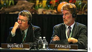 Business representative Thomas Jacobs, left, from the Dupont Corporation, and farmers representative Gerard Doornbos, from the International Federation of Agricultural Producers