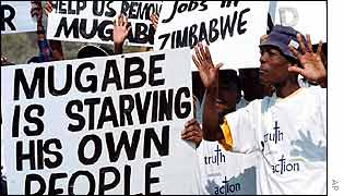 Protest against Mugabe at the World Summit in Johannesburg, South Africa