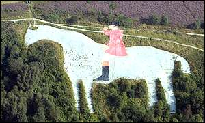 The defaced white horse in North Yorkshire