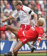 James Beattie in action against Liverpool