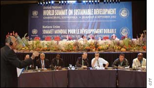 Delegates at a morning plenary session of the World Summit on Sustainable Development