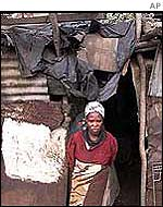 Poverty-stricken woman in township